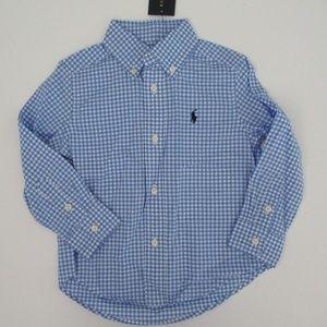 NWT Ralph Lauren LS Blue Gingham Cotton Shirt NEW